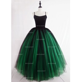 Black And Green Gothic Ball Gown Tulle Long Maxi Skirt D1 S006