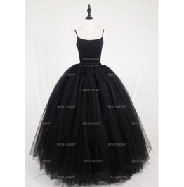 Black Gothic Ball Gown Tulle Long Maxi Skirt With Bow Back D1 S008