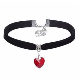 Romance Black Velvet Choker With Pretty Small Red Crystal Heart