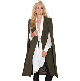 Poncho Cape Trench Coat Open Front Blazer Suits With Pocket