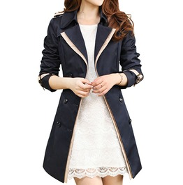 Epaulet Shoulders Turn Down Collar Military Inspired Trench Coat Women