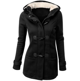 Gothic Long Hooded Zipper Horn Button Trench Coat Jacket Women
