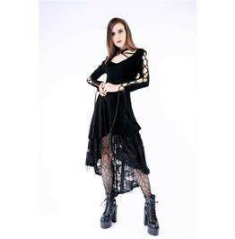 Dw151 Gothic Knitted Dress With Cross Sleeves