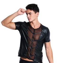 Breathable Stripped Leather Top