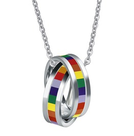 Rainbow Pendant Interlocked Necklace