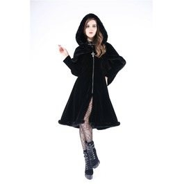 Jw115 Gothic Lolita Hooded Long Coat With Cape