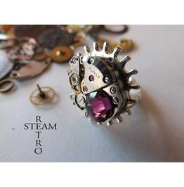 Voltaire Amethyst Steampunk Ring Steamretro