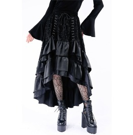 Kw118 Gothic Cocktail Skirt With Lace And Satin