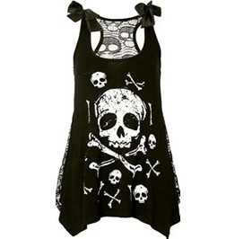 Cool Black Skull Design Vest Top / T Shirt Size 14/16 Uk 12/14 Us