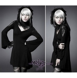 Long Sleeve Gothic Romantic Tunic Little Black Dress W Lace By Punk Rave