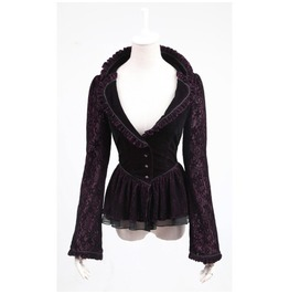 Purple Corset Fitted Jacket Victorian Gothic Romantic With Lace Punk Rave