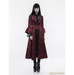 Red Gorgeous Floral Pattern Gothic Coat For Women Wy 844 Rd