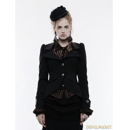 Black Gothic Steampunk Swallow Tail Jacket For Women Wy 880