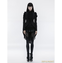 Black Gothic Vintage Swallow Tail Coat For Women Wy 831