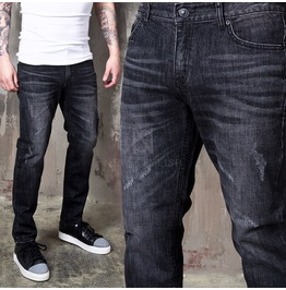 Distressed Charcoal Washed Slim Jeans 337