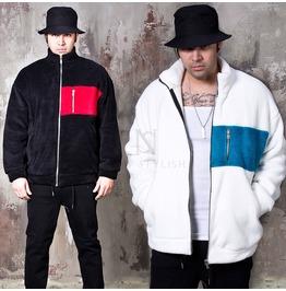 Contrast Boa Fur Fabric Zip Up Jacket 314