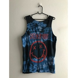 Nirvana Japanese Text Kurt Cobain Grunge Hippie Punk Rock Tie Dye Tank Top