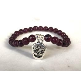 Mauve Purple Agate Beaded Bracelet With Sugar Skull Charm