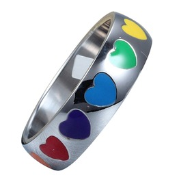 Rainbow Heart Shape Stainless Ring