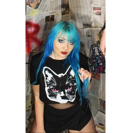 Cat Black Crop Top Tee