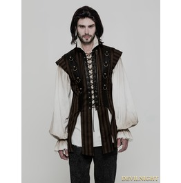 Brown Steampunk Striped Vest For Men Wy 882 Co