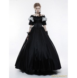 Black Victorian Vintage Palace Long Ball Gown Dress Wq 356
