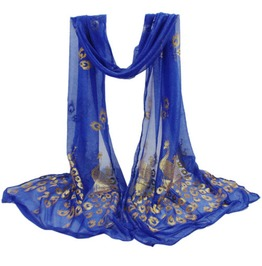 Beautiful Blue With Shiny Peacock Print Design Scarf Shawl Wrap