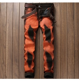 Punk Rock Orange And Black Distressed Men Jeans