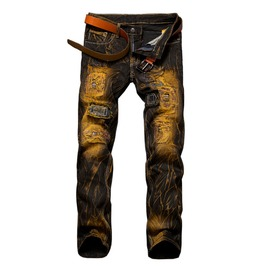 Distressed Ripped Vintage Biker Men's Jeans