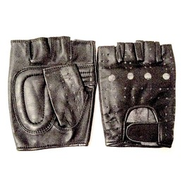 Cool Black Biker Leather Fingerless Gloves Small / Med Size