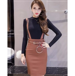 High Waist Bodycon Skirt With Straps