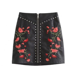 Vintage Rivets Flower Embroidery Short Skirt