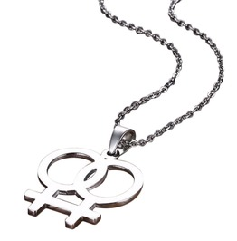 Stainless Couple Feminine Symbol Necklace And Pendant