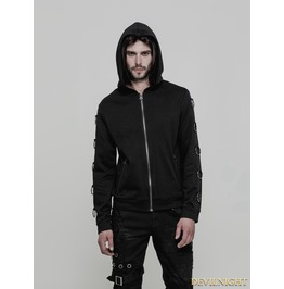 Black Gothic Punk Hoodie Cardigan Sweater For Men Wy 865