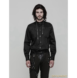 Black Gothic Uniform Punk Shirt For Men Wy 864