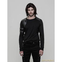 Black Gothic Steampunk Long Sleeve T Shirt For Men Wt 513