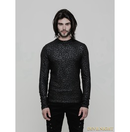 Black Gothic Pattern T Shirt For Men Wt 511