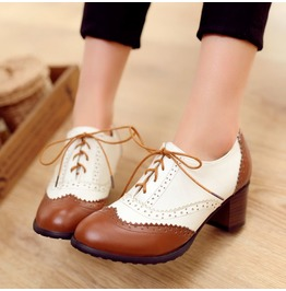 Vintage Thick High Heel White Brown Lace Up Women Shoes