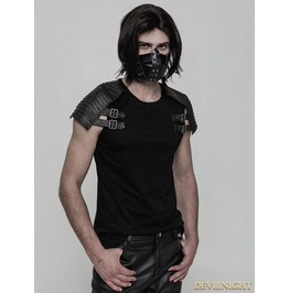 Black Gothic Punk Armor Style T Shirt For Men Wt 508
