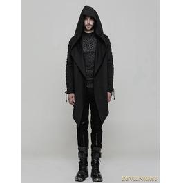 Black Gothic Punk Hooded Coat Cloak For Men Oy 879