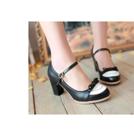 Vintage Thick High Heel Black White Women Shoes