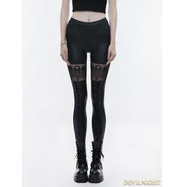 Black Gothic Skull Embroidered Leggings For Women Wk 293