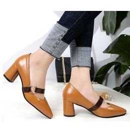Pointed Toe Thick High Heel Women Shoes