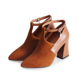 Pointed Toe Ankle Strap Thick High Heel Women Shoes