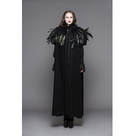 Women's Goth Hooded Long Cloak With Feathered Collar Ct031