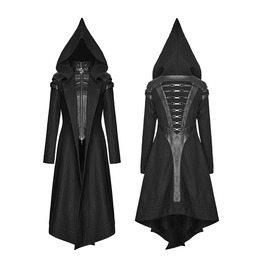 Punk Psyon Womens Hooded Coat Long Jacket Black Goth Cyber Dieselpunk Witch