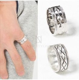 Diamond Patterned Silver Ring 46