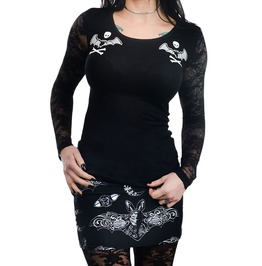 Bat Lace Crossbones Kelly Lace Back Long Sleeve Top
