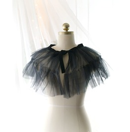 Black Tulle Lace Velvet Bow Sheer Collar Cape Capelet Poncho Top,Women's