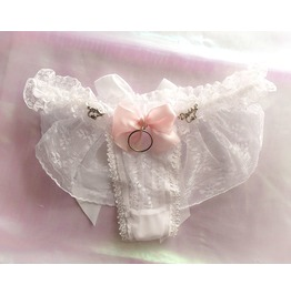 Daddys Girl Lingerie Ruffles White Lace Thong Pantie Pink Bow O Ring